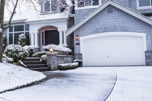 Big suburban home in wintertime