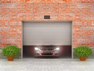 Garage opens on brick building